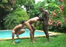Pool Side Latin Threesome